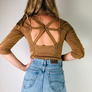 FREE PEOPLE | Rust Open Back 3/4 Sleeve Ribbed Top
